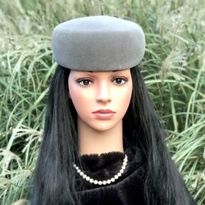 Fabulous Vintage Gray Pillbox Hat by Lilly Daché